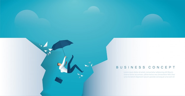 Businessman falls into the abyss crisis bankruptcy Premium Vector