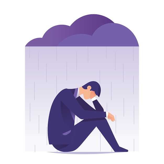 Businessman feeling sad and depression sitting under rain and cloud Premium Vector