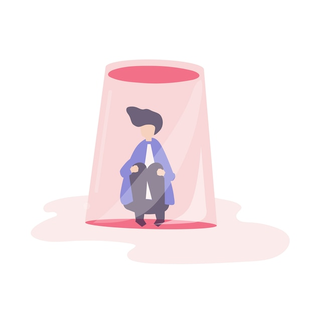 Businessman feeling small and trapped illustration Free Vector