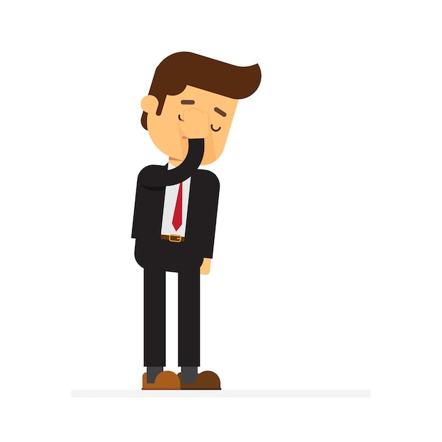Businessman feeling stress, shame and having a headache Premium Vector