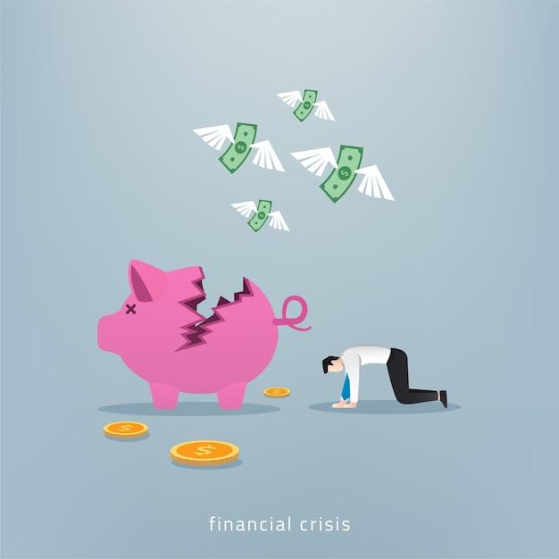ビジネスマンは貯金箱とお金の概念で落ち込んで落ち込んでいます。 Premiumベクター