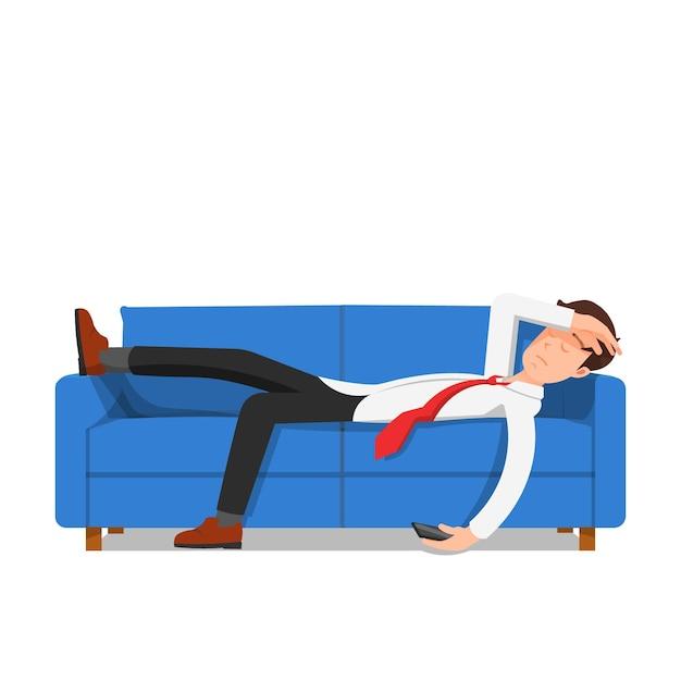Бизнесмен заснул на диване, изолированном на белом Premium векторы
