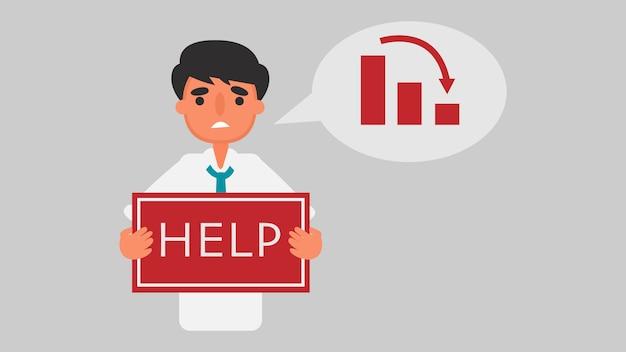 Бизнесмен финансовый кризис. концепция. безработные мужчины требуют помощи. бизнес иллюстрация. квартира Premium векторы
