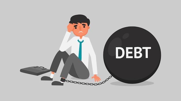 Концепция финансового кризиса бизнесмена. молодой человек беспокоится о задолженности из-за безработицы. Premium векторы