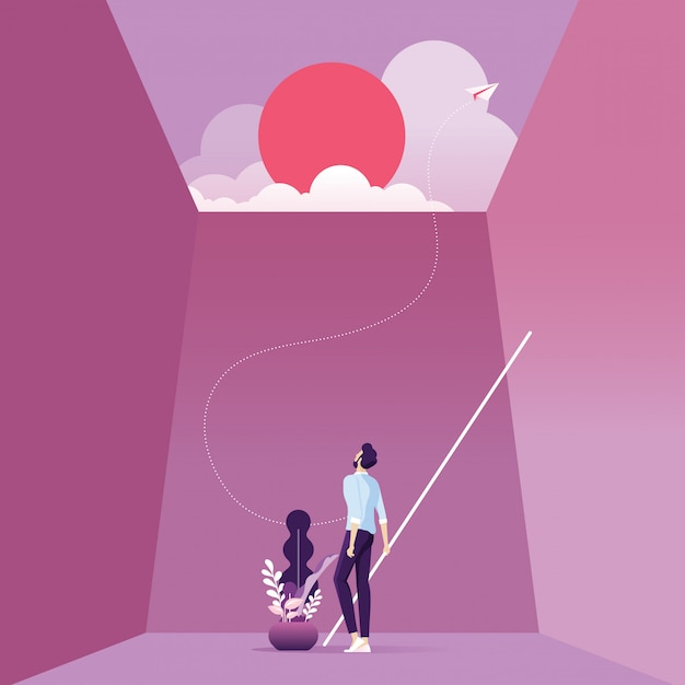Businessman find a way out from bottom of boxbusiness trapped Premium Vector