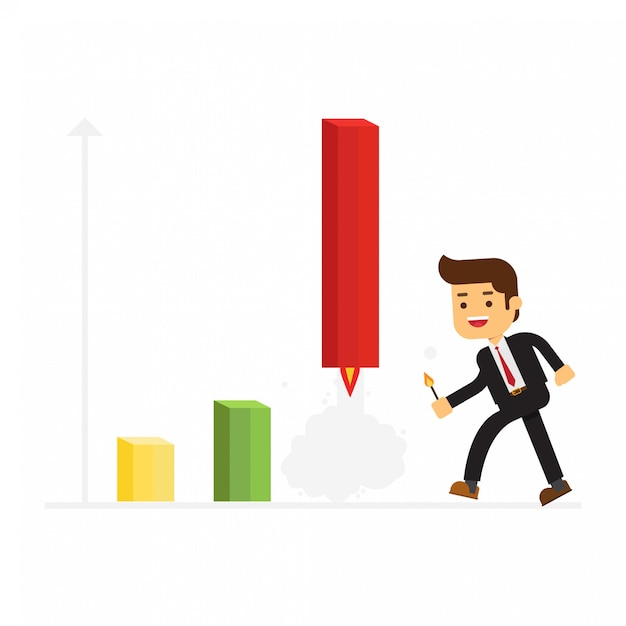 Businessman fire rocket to up selling Premium Vector