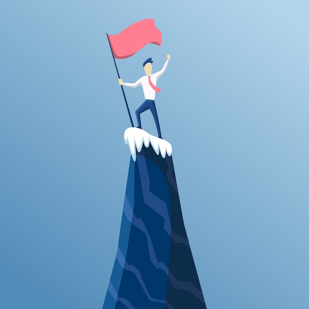Businessman first reached the summit of the mountain with a flag. business people reached his goal. business  win and competition. leads to success Premium Vector