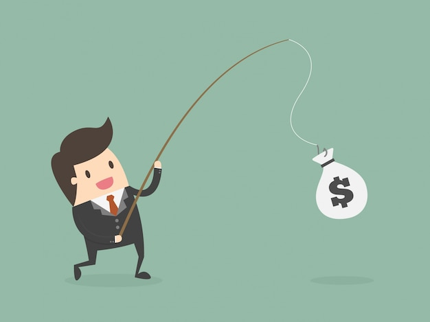 Businessman fishing money vector free download for Fish for cash
