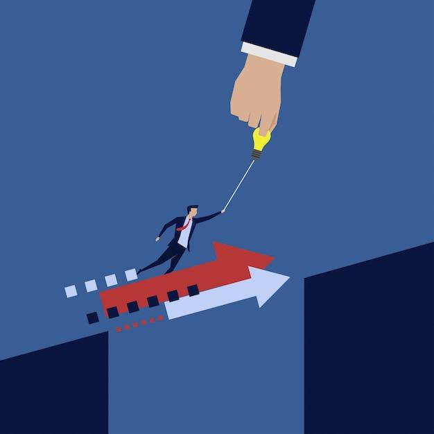 Businessman fly away hand help to jump the gap. Premium Vector