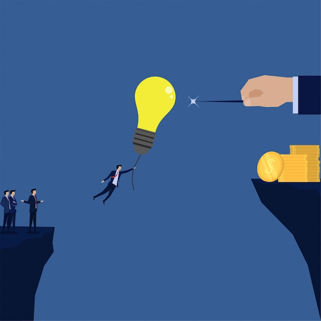 Businessman fly with balloon idea to needle metaphor of greedy bankruptcy. Premium Vector