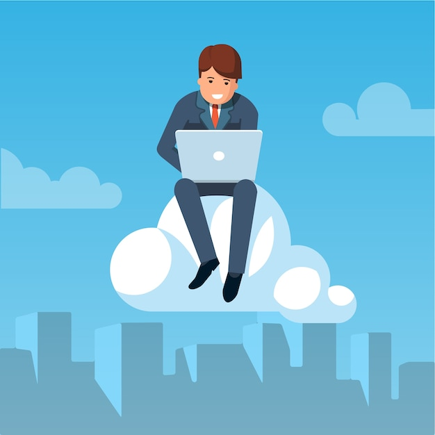 Businessman flying in the sky and working Free Vector