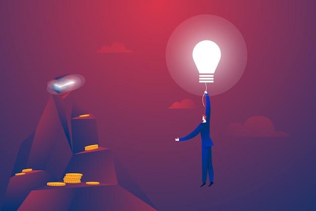 Бизнесмен, летящий на вектор баллона лампочки. символ творчества, инноваций, творческих идей и решений Бесплатные векторы