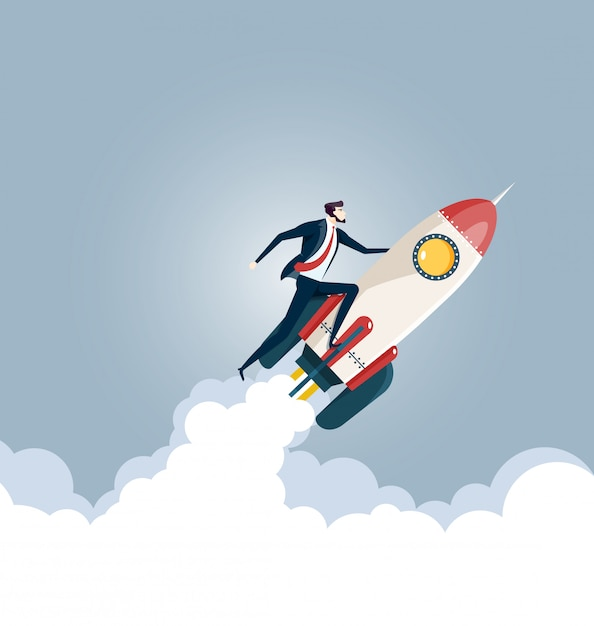 Businessman flying on a rocket Premium Vector