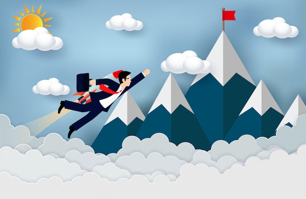 Businessman flying with rocket engines forward to goal to achieve success. business concept Premium Vector