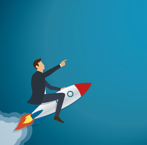 Businessman flying with a rocket to successful Premium Vector