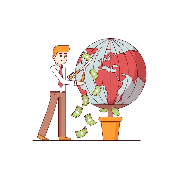 Businessman gardening world earth globe Free Vector