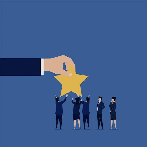 Businessman gave star for appreciation rating. Premium Vector