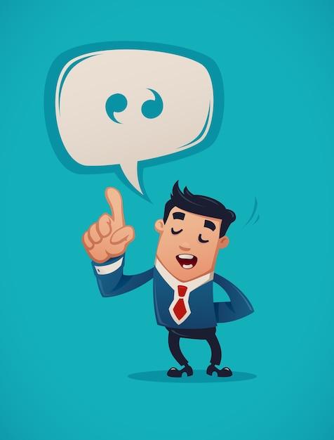 Бизнесмен, выступая с речью Premium векторы