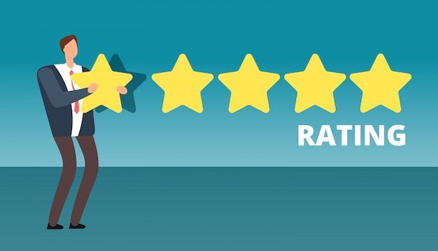 Businessman giving five star rank. best work quality and customer service feedback vector concept Premium Vector
