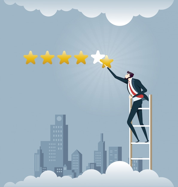 Businessman giving five star rating - Business concept Premium Vector