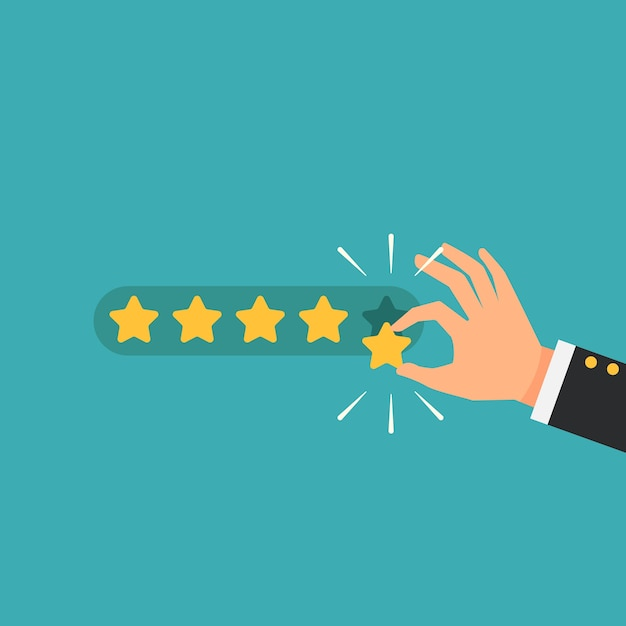Businessman giving five star rating feedback Premium Vector