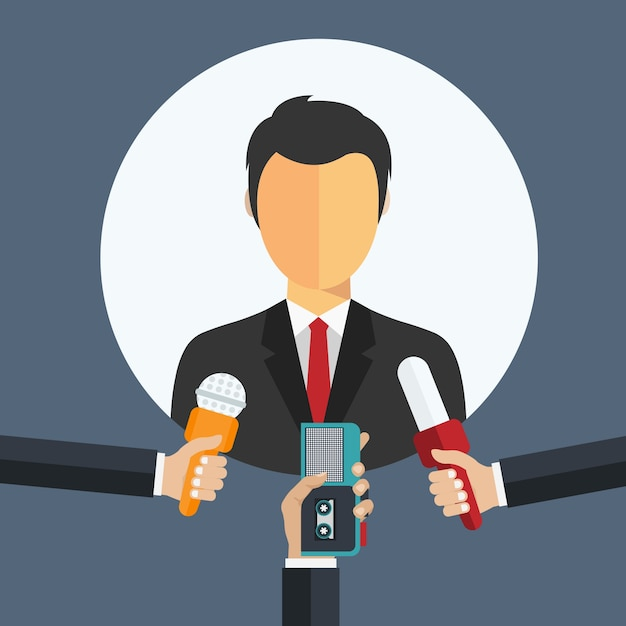 Illustration representing public relations of a man being interviewed.