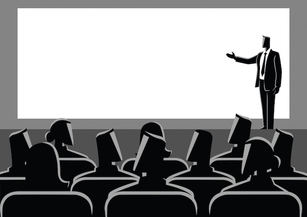Businessman giving a presentation on big screen Premium Vector