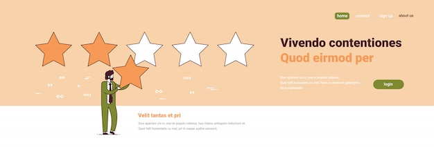 Businessman giving quality feedback customer satisfaction concept three stars rating male cartoon character full length Premium Vector