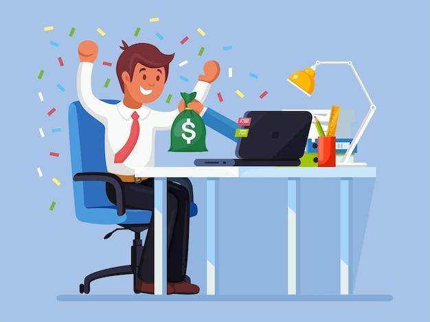 사업가 노트북에서 온라인 경연 대회에서 돈 가방을 얻었다 프리미엄 벡터