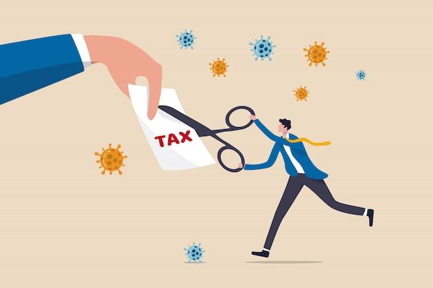 はさみを使用して税法案をカットする実業家政府指導者 Premiumベクター