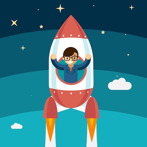 Successo crescente dell'uomo d'affari. rocket fly up, vincitore persona, illustrazione vettoriale Vettore gratuito