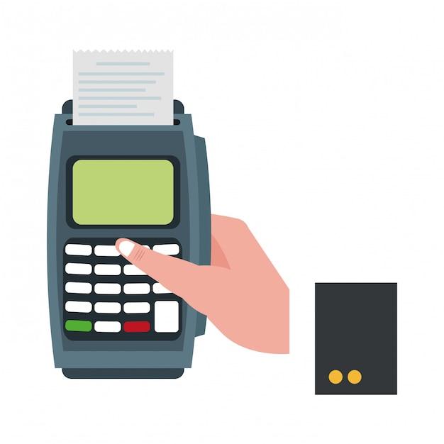 Businessman han with card reader Premium Vector