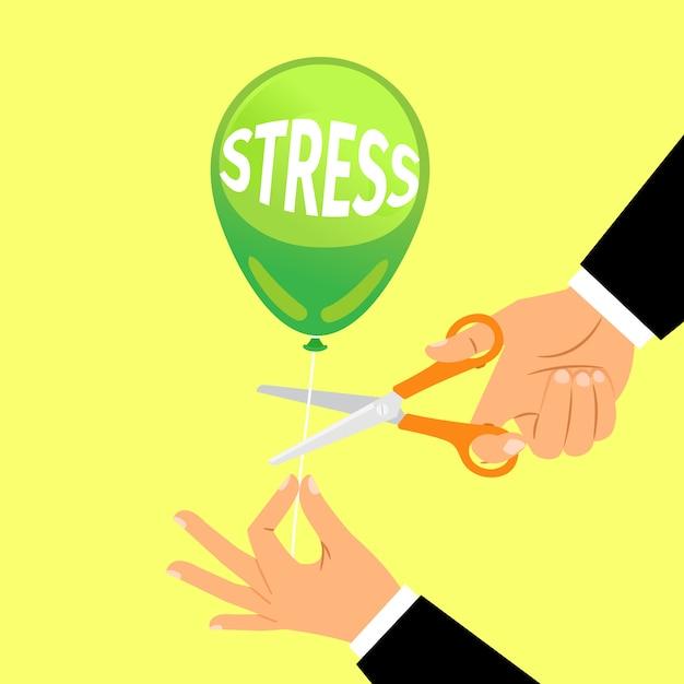Businessman hand cutting stress balloon string Premium Vector
