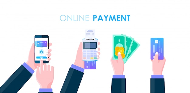 Businessman hand holding cash, smartphone, money and credit card for online payment concept, cashless society, online mobile banking and internet banking flat design. Premium Vector