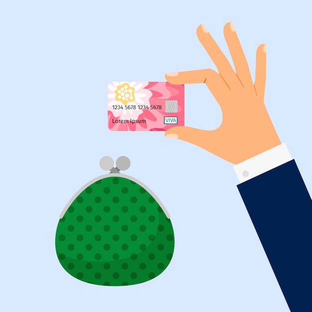 Businessman hand holding credit card Premium Vector