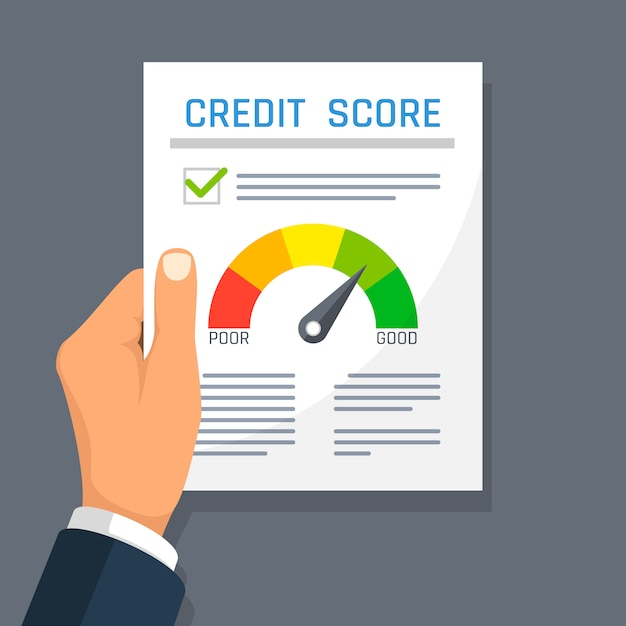 Businessman hand holding credit history finance document with score indicator. Premium Vector