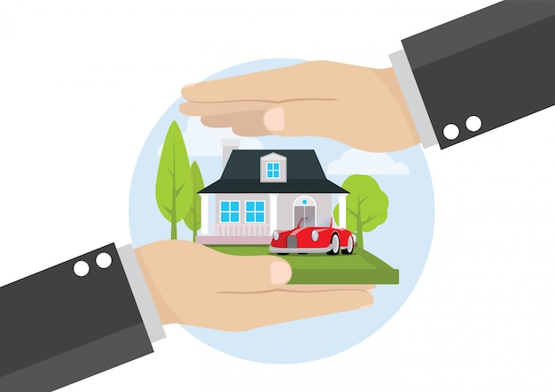 Businessman hand holding home insurance business service Premium Vector