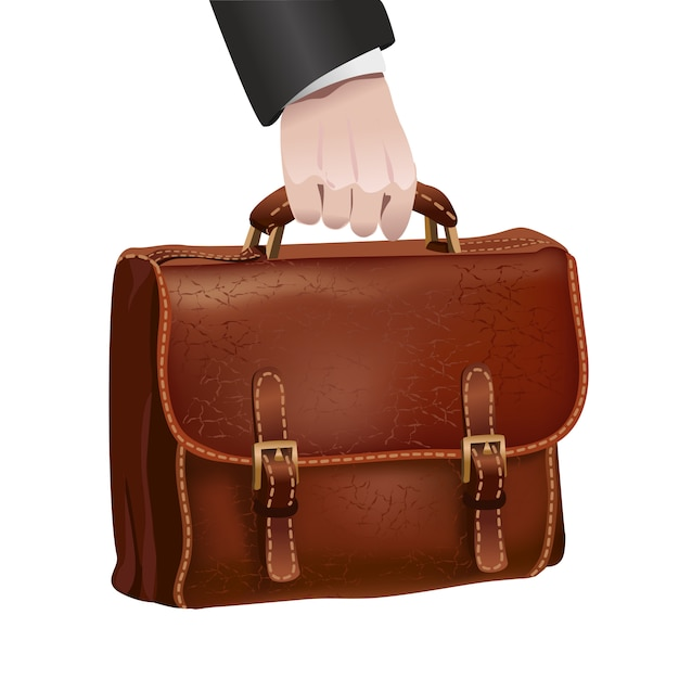 Businessman hand holds leather briefcase Free Vector