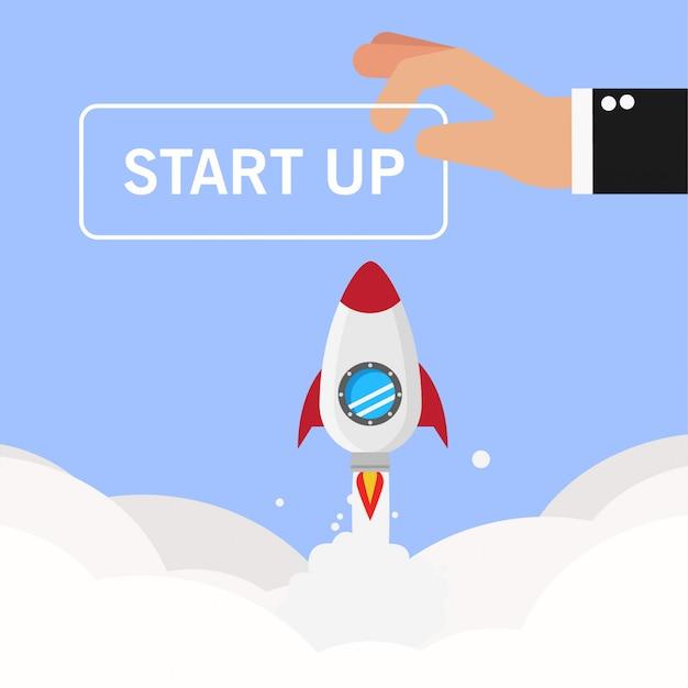Businessman hand make start up Premium Vector