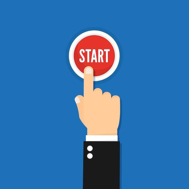 Businessman hand pressing start button illustration concept image Premium Vector