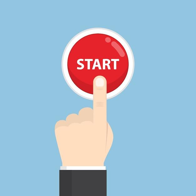 Businessman hand pressing start button Premium Vector
