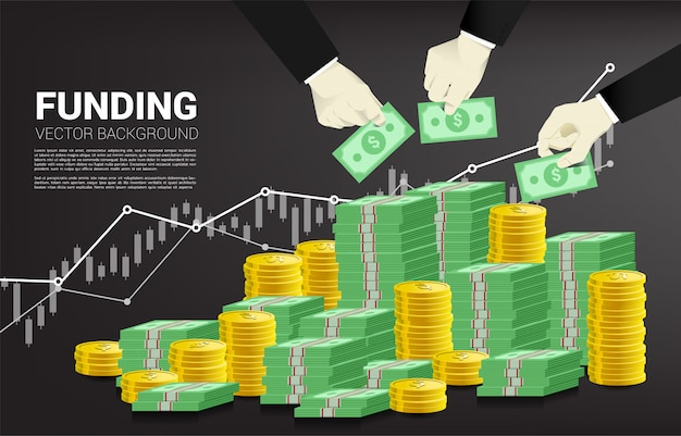 Businessman hand put money on stack of money. Premium Vector