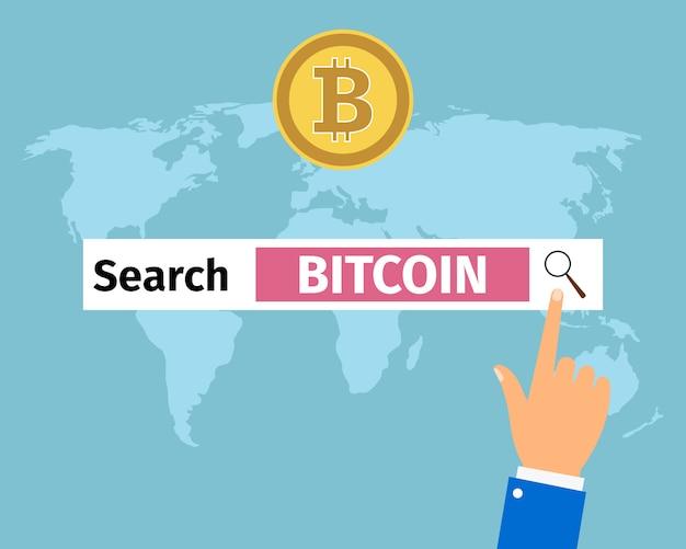 Businessman hand search bitcoin in internet Premium Vector
