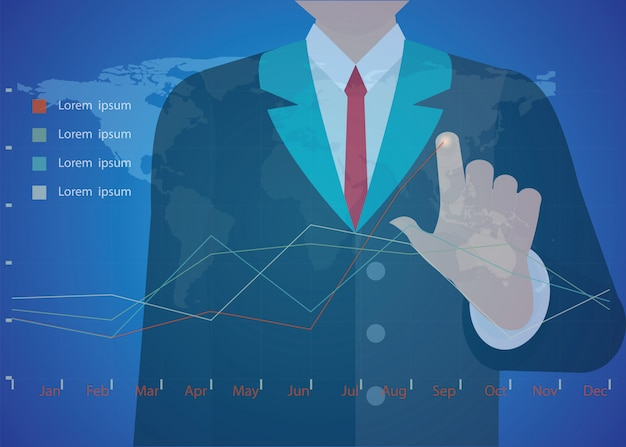 Businessman hand working with new modern computer and business strategy as concept. Premium Vector