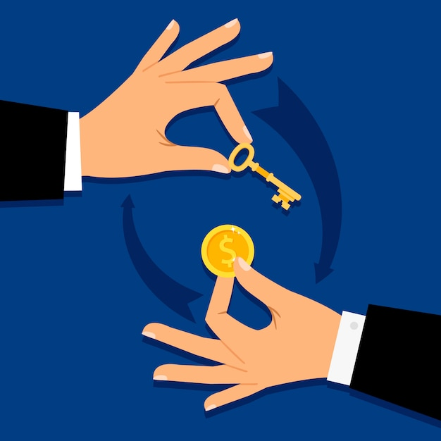 Businessman hands giving money for key Premium Vector