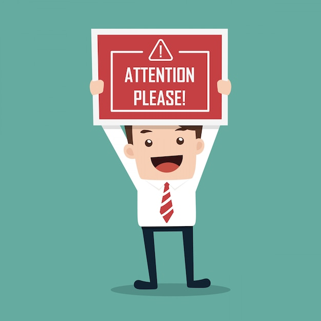 Businessman hands hold caution red sign Premium Vector