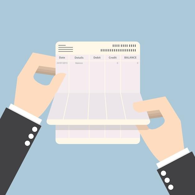 Businessman hands holding passbook with no balance Premium Vector