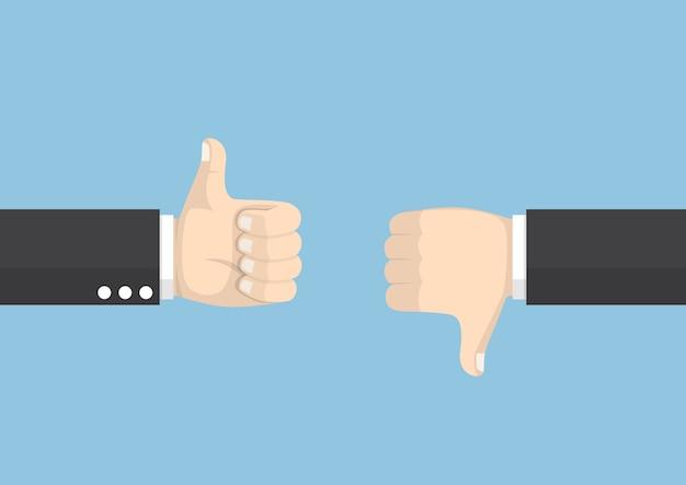 Руки бизнесмена, показывающие разные жесты большим пальцем вверх и вниз, голосование и концепция обратной связи Premium векторы