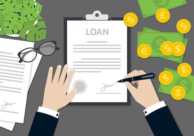 사업가 손 서명 및 대출 신청서 문서, 비즈니스 개념에 스탬프 프리미엄 벡터