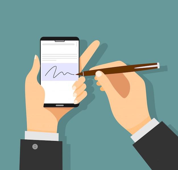 Businessman hands signing digital signature on modern smartphone. Premium Vector